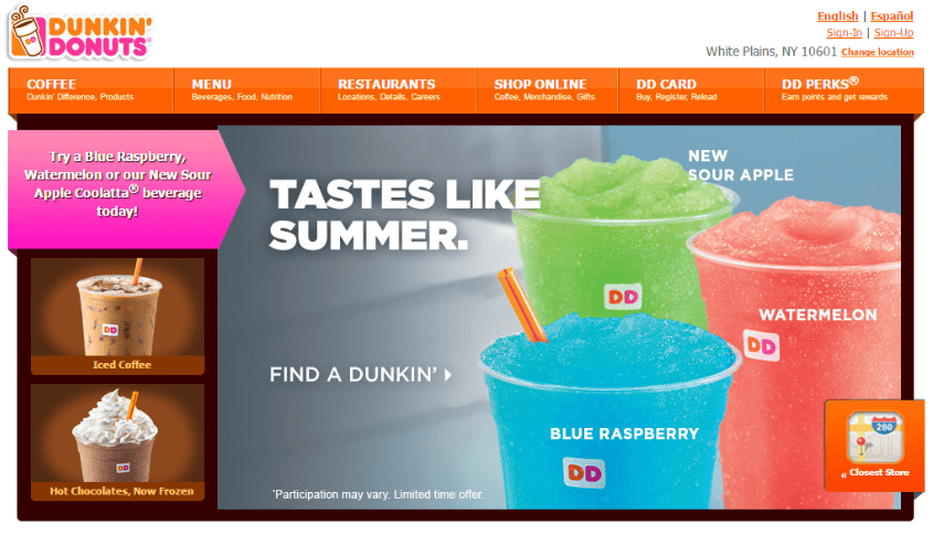 Dunkin Sign Up Process email marketing