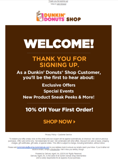 Dunkin Welcome Email marketing