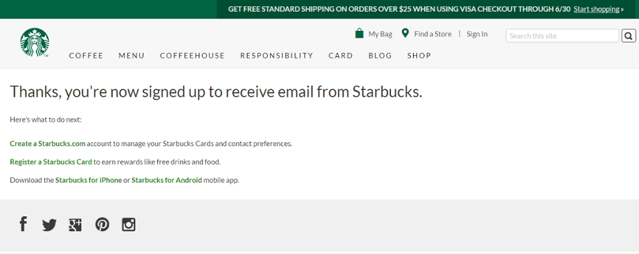 Starbucks Email Process email marketing