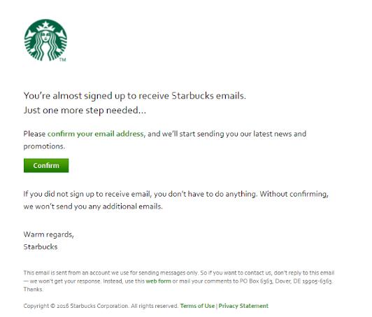 Starbucks Welcome email marketing